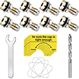 19 Pieces Fuel Gas Can Vent Caps 8 Pieces Fuel Gas Tank Vent Caps Gas Can Replacement Vent Plug Gas Jug Vent Caps with Drill, Wire, Wrench and Warning Stickers for Gas Fuel Can Allow Faster Flowing