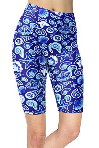 sissycos Leggings cortos para mujer con estampado océano de los 80, multicolor, pantalones cortos de verano, para mujer Ocean 0180-short S/L
