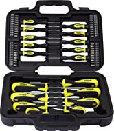 Includes many different sized screwdrivers and precision screwdrivers Also includes 40 x 25mm bits and bit holder Supplied in plastic carry case