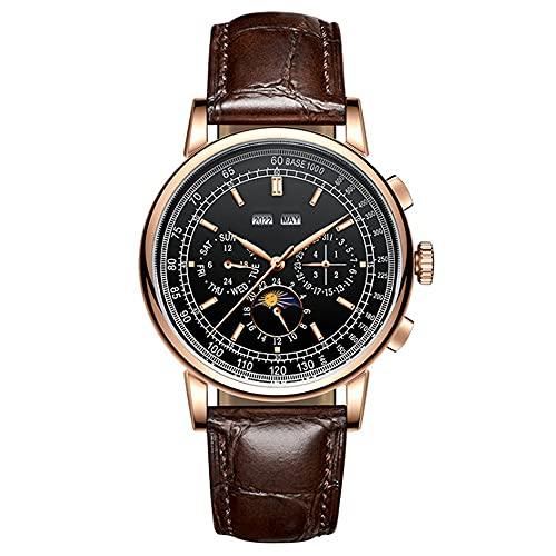 YUN Reloj Mecánico Automático-Reloj de Hombre Correa de Cuero Impermeable Reloj Regalo Hombre (Color : Brown)