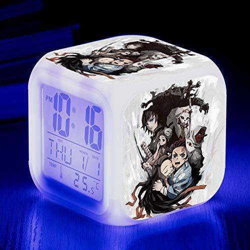 Totots Kamado Nezuko/Kamado Tanjirou Dibujos Animados de Reloj Despertador, Demon Slayer Luz de Noche LED Colorida, Tomioka Giyuu Anime Snooze Clock, Mini Adornos de Escritorio, Reloj Cuadrado, Rega