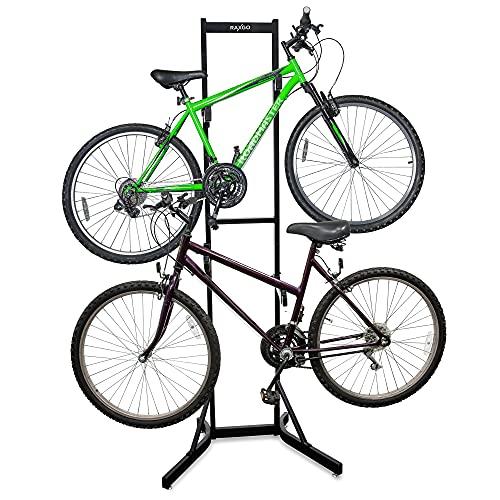 RaxGo Bike Garage Storage Rack, 2 Bicycle Garage Floor Stand, Adjustable, Freestanding, Adjustable Hooks, For Mountain & Road bicycles, Universal For Indoor Use