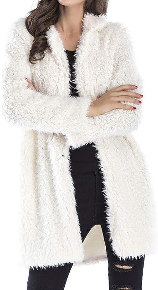 Womens Fahion Shaggy Long Faux Fur Coat Jacket Winter Outwear Open Front