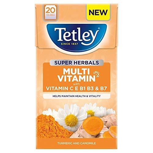 Tetley Super Herbals Multivitamin Turmeric & Camomile Tea Bags, 40g