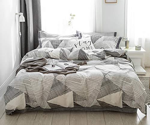 Jumeey Geometric Comforter Sets Queen White Black Grey Comforter Full Size Modern Triangle Plaid Bedding Comforter Set Gray Women Men Boy Girls Teens Aesthetic Art Striped Comforter Bedding Sets Queen