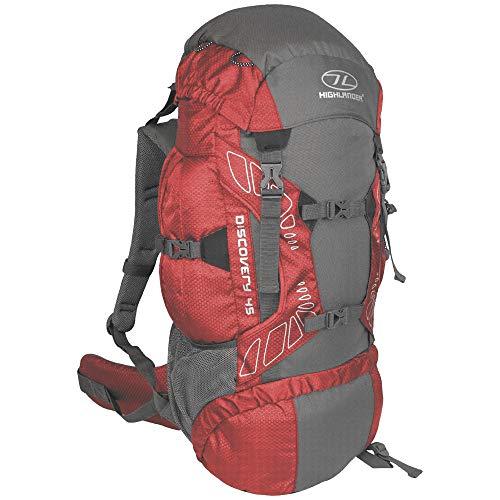 """Highlander 45 Liter Discovery Rucksack Leichter Wanderrucksack mit wasserdichter Hülle - Ideal zum Wandern, Reisen, Trekking, Camping und """"D of E"""" (Rot)"""