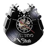 Tbqevc Reloj de Pared con Registro de Vinilo con Logotipo de Empresa de Tatuajes, Colgante de energía para salón de Tatuajes, Regalo de Artista del Tatuaje silencioso, 12 Pulgadas