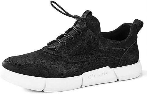 Ofgcfbvxd-SHSp Chaussures de Sport Tout-Aller pour Hommes Chaussures de Course Course Course à Pied en Cuir antidérapantes en Cuir pour Chaussures de Sport paniers de Marche légers (Couleur   Noir, Taille   42 EU) 205