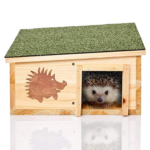 Skojig© XL Igelhaus aus natürlichem Holz & integriertem Raubtierschutz - Igelpension Igelhütte Igelhotel - Winterquartier & Schutz für Igel gegen Raubtiere.