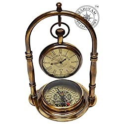 Nautical Clock Ship Table Clock Brass Desk Clock Maritime Brass Compass with Antique Victoria London Pocket Watch