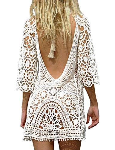 BAISHENGGT Damen Boho Rückenfrei Spitze Bikini Cover Up Strandkleid Sommerkleid Weiß One Size passt S-M