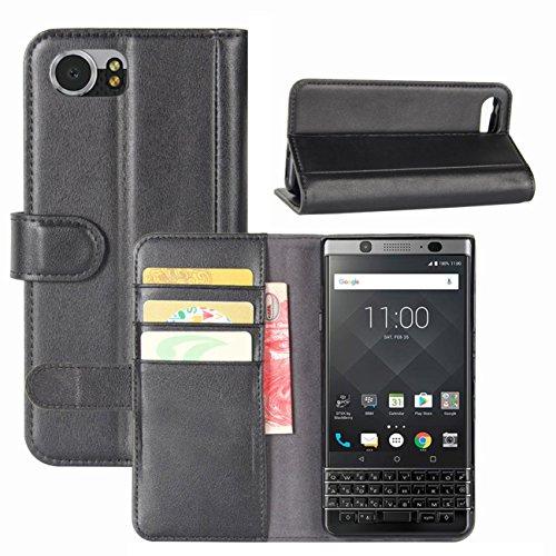 HualuBro BlackBerry KEYone Hülle, Leder Brieftasche Etui LederHülle Tasche Schutzhülle HandyHülle [Standfunktion] Handytasche Leather Wallet Flip Hülle Cover für BlackBerry KEYone - Schwarz