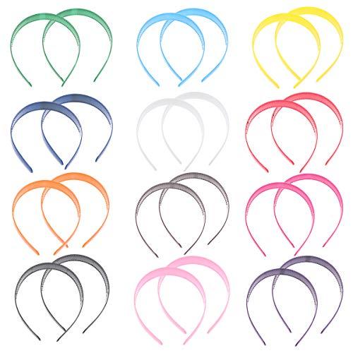 24Pcs Hebilla Sección ancha Diadema Color caramelo Diadema Cabeza Dientes de plástico Banda para el cabello Aro Mujeres Niñas Accesorios para el cabello
