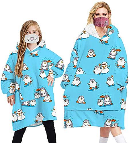 Übergroße Hoodie Sweatshirt Decke, Weiche Warme Riesen Hoodie Fronttasche Giant Plüsch Pullover Decke mit Kapuze for Erwachsene Männer Frauen Kinder (Pinguin, Eine Größe für Frauen/Männer)