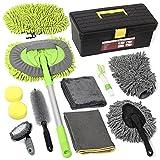 AURELIO TECH 12 Pcs Car Cleaning Kit | Car Wash Kit Brush with 43'' Long Handle, Car Wash Mitt Microfiber Towels Storage Box for Exterior and Interior Detailing