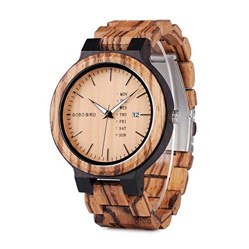 BOBO BIRD Mens Wooden Watch ボボバード メンズ 男性用 木製腕時計 アナログクォーツ 日付週表示 軽量(ブラウン)