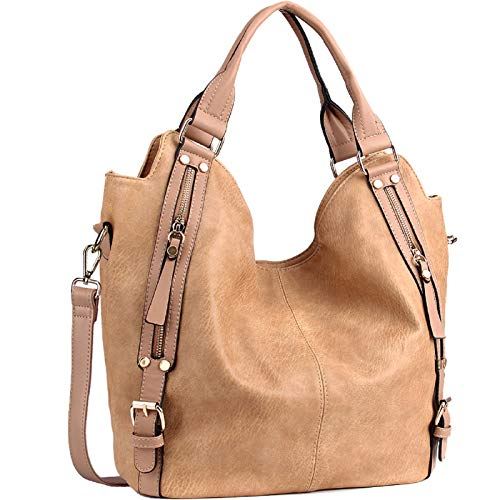 JOYSON Women Handbags Hobo Shoulder Bags Tote PU Leather Handbags Fashion Large Capacity Bags Apricot