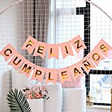 1 Juego de Banner Feliz Cumpleaños Español Pancartas Cumpleaños Bandera de Papel Guirnalda Colgar para Decoración Fiesta Reunión Banquete (Kit rosa)