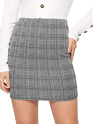 SheIn Women's Basic Stretch Plaid Mini Bodycon Pencil Skirt Medium #Grey#3