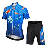 LPATTERN Maillots de Ciclismo Traje Conjunto de Bicicleta Jersey de Manga Corta + Culotte Pantalones para Niños,Pez-Azul Oscuro,XL/Altura Recomendada 140-150