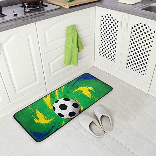 Hunihuni Fußball-/Fußball-/Sportmatte, rutschfest, für Eingangstür, Küche, Innenbereich, 99 x 51 cm