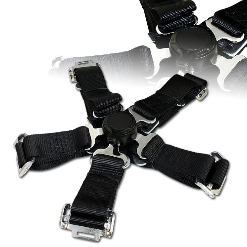 "EPARTS 1 Piece Universal Durable 2"" Black Nylon Strap 5 Point Cam Lock Seat Buckle Sport Racing Safety Harness Seat Belt New Hampshire"