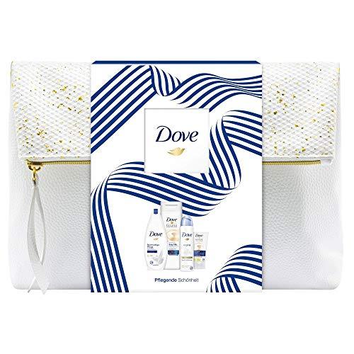 Dove Geschenkset Reichhaltige Pflege für weichere Haut mit Duschgel, Deospray, Body Milk und Handcreme in einer Kulturtasche (400 ml + 150 ml + 400 ml + 75 ml)