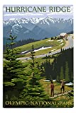 Olympic National Park, Washington, Hurricane Ridge and Hikers 33513 (12x18 Aluminum Wall Sign, Metal Wall Decor), 1/16 inch thickness heavy gauge aluminum. Ready to hang with holes in each corner. Hand buffed and coated, for indoor or outdoor use. Pr...