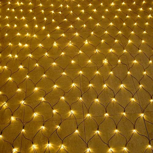 HENGMEI 6 x 4 m LED Lichternetz 672 LEDs Lichterkette Vorhang Lichter Netz Beleuchtung Deko Weihnachten für Innen und Außen, Halloween, Hochzeit, Party - Warmweiß, Dunkelgrün Kabel