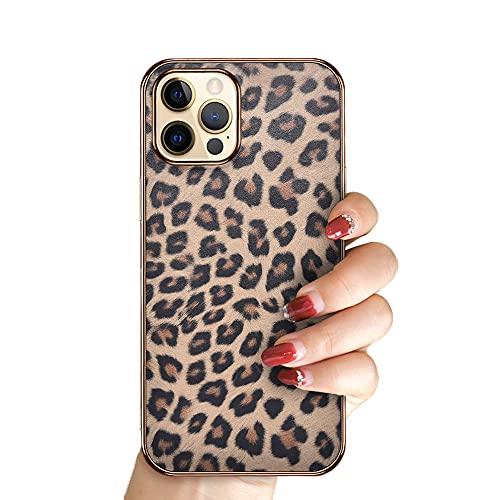 Diseñado para iPhone 12/12 Pro Leopardo Plateado Mujeres Funda Prueba de Golpes Ultra-Delgado Partículas Esmerilado Dura Piel de Vaca Cubierta Todo Incluido Enfriamiento Cuero Cover(Color:IP12PRO)