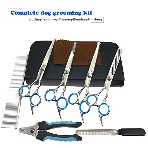 MaoCG Dog Grooming Scissors Set, Safety Round Blunt Tip Grooming Tools, Professional Curved,Thinning,Straight Scissors with Comb,nail cliper and nail file,Grooming Shears for Dogs and Cats.