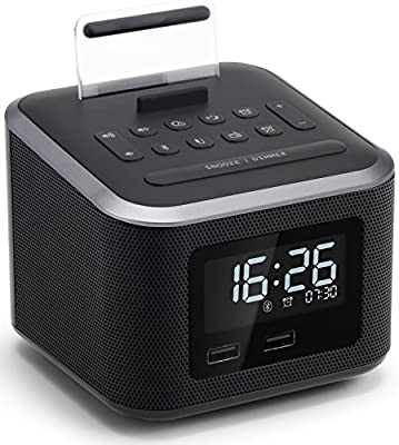 Homtime Alarm Clock Radio,Wireless Bluetooth Speaker,Digital Alarm Clock USB Charger for Bedroom with FM Radio/USB Charging Port/AUX-in and Cell Phone Stand/Snooze/Dimmer/Battery Backup Function