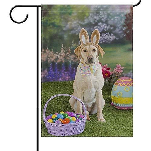 Tuinvlaggen Lente Geel Labrador Hond Bunny Tuin Yard Vlag Banner Huis Home Decor 32X45.7CM,Pasen Mand Eieren Kleine Mini Decoratieve Dubbele Zijde Welkom Vlaggen voor Vakantie Bruiloft Party Outdoor