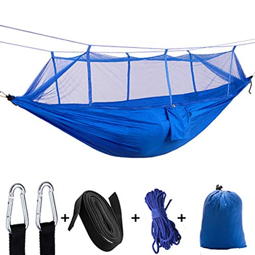 MMWYC Hammock, Camping Lightweight Nylon Parachute Double & Single Portable Tree Hammocks with 2 Hanging Ropes, for Backpacking, Travel, Beach, Backyard,102.4x55.1 inches (Color : Blue)