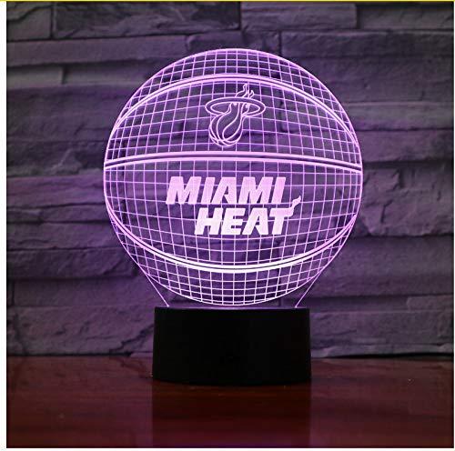 Miami Heat Basketball Acryl Lampe Sport 3D Nachtlicht Neuheit Geschenke 7 Farben ändern Led Schreibtisch Tischlampe für Jungen Geschenke