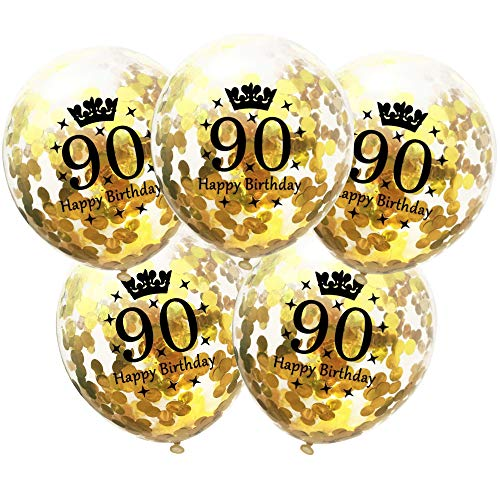 DIWULI, 5 Stück Geburtstags Luftballons, Zahl 90, Happy Birthday, Konfetti Sterne Latex-Ballons Gold, Latex-Luftballons, Zahlen-Ballons, Geburtstags-Deko Ballon-Set 90. Geburtstag, Party, Dekoration