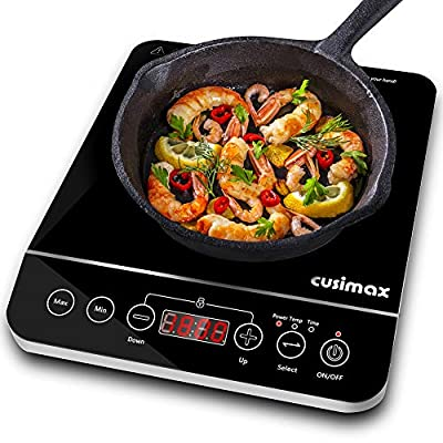 CUSIMAX Induction Cooktop 1800W Portable Induction Burner with Timer, Sensor Touch Countertop Burner, 10 Temperature and 9 Power Setting, Kids Safety Lock for Cast Iron, Stainless Steel Cookware, 10.2''