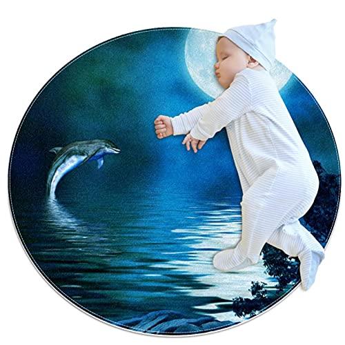 Dolphin Under Moonlight - Felpudo redondo lavable, antideslizante, para sala de estar, cocina, dormitorio, decoración del hogar de 2,62 pies