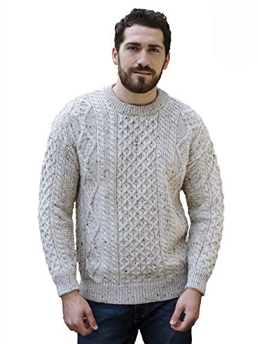 Aran Crafts Irish Soft Cable Knitted Wool Crew Neck Sweater (C1347-LG-SKI)