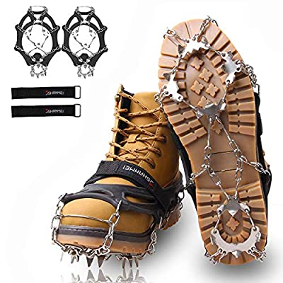 JSHANMEI 19 Spikes Crampons Ice Snow Grips Traction Cleats Stainless Steel Spikes Safe Protect Walking Jogging Hiking on Snow Ice Mud Wet Grass (Large)