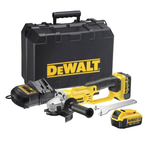 Dewalt DCG412M2-GB XR Lithium-Ion Cordless Angle Grinder with 2 x 4Ah Batteries, 18V, 46.2cm x 31.4cm x 18cm, Multicolor