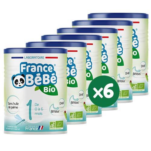 FRANCE BéBé BIO - Lait infantile pour bébé 1er âge en poudre 0 à 6 mois - Lait fabriqué en France - BIFIDUS - SANS HUILE DE PALME - Pack 6 boîtes de 400g