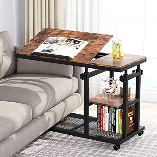 Tribesigns Height Adjustable C Table with Wheels, Mobile Couch Snack Side Table with Tiltable Drawing Board, Sofa Bedside Laptop Stand C Shaped TV Tray with Storage Shelves (Brown)