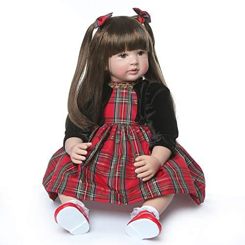 """iCradle Reborn Dolls 24\"""" Süss Weiche Silikon Vinyl Realistische EIN echtes Baby Reborn Babypuppen Mädchen Kleinkind Reborn Baby Doll Magnetisch Mund Long Hair"""