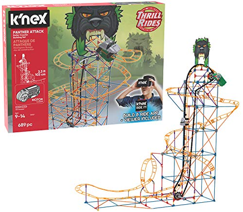 K#039NEX Thrill Rides – Panther Attack Roller Coaster Building Set with Ride It App – 689 Piece – Ages 9 Building Set