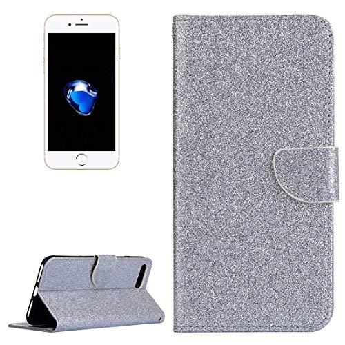 YIHUI Funda Protectora Hace 7 Plus Polvo del Brillo de Cuero del Caso con el sostenedor y Monedero y Ranuras for Tarjetas iPhone y 8 Plus (Color : Silver)
