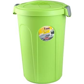 Stefanplast Tom Cubo de Basura con Tapa, Plástico, 46 litros