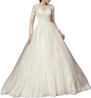 Abiti da sposa da sposa a una linea di abiti da sposa per le spose lunghe appliques abiti da sposa