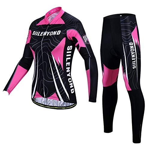 Set Abbigliamento da Ciclismo Completo Ciclismo Donna Professionale Maglia Maniche Lunghe+Pantaloni Lunghi con 3D Cuscino per Ciclismo MTB Bicicletta Bici da Corsa M3,A,XS