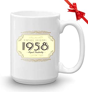 Birthday Number Coffee Mug - Vintage Original 1958 Aged Perfectly - Retro Design Old Fashioned Men Women 61st Birthday Grandpa Grandma Dad Mom 15 Oz